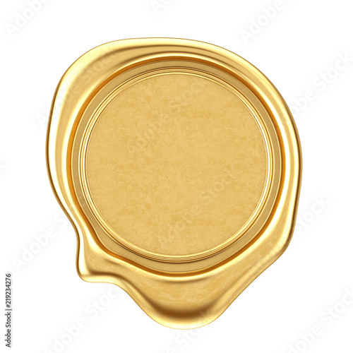 Gold Wax Seal with Blank Space for Your Design. 3d Rendering Slika na platnu