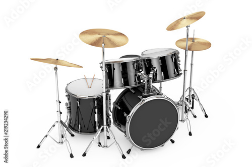 Foto Professional Rock Black Drum Kit. 3d Rendering
