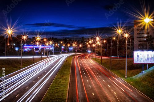 Foto op Aluminium Nacht snelweg The lights of the evening city one day.