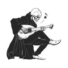 Minstrel Playing Guitar,grim Reaper Musician Cartoon,gothic Skull,medieval Skeleton,death Poet Illustration,evil Bones Halloween