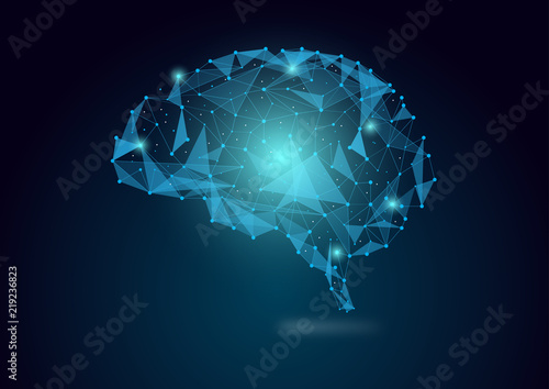 Fotografía Brain concept in wires form with connecting dots, vector illustration