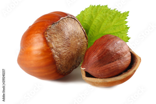 Pinturas sobre lienzo  hazelnuts with leaves isolated on white background. macro