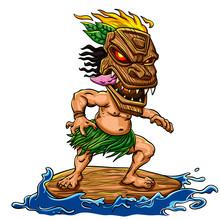 Tiki  Surfing Cartoon Illustration