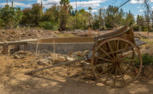 Retro Wooden Wagon Forgotten In A Farmyard
