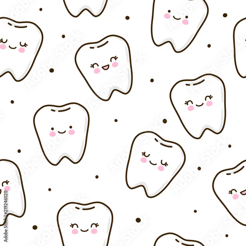 Seamless pattern with cute teeth Lerretsbilde