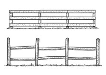 Wooden Fence Illustration, Dra...