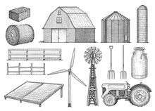 Farm, Countryside, Rural Object Collection, Illustration, Drawing, Engraving, Ink, Line Art, Vector
