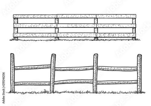 Canvastavla Wooden fence illustration, drawing, engraving, ink, line art, vector