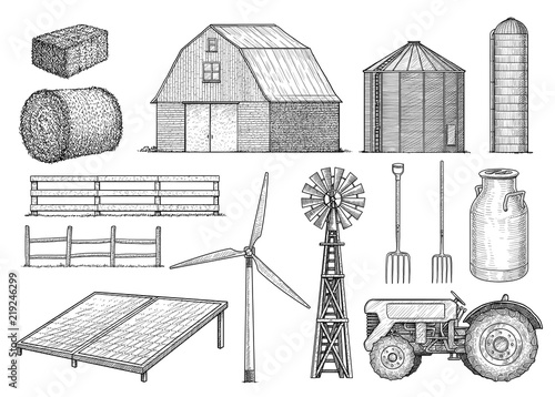 Farm, countryside, rural object collection, illustration, drawing, engraving, in Fototapet