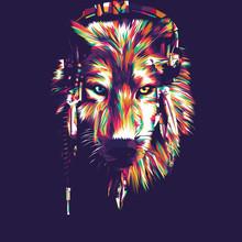 Wolf Vector Pop Art Illustration