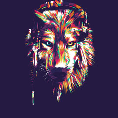 Obraz na Szkle Zwierzęta Wolf Vector Pop Art Illustration