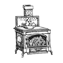 Ancient Oven. Old Stove. Ink G...
