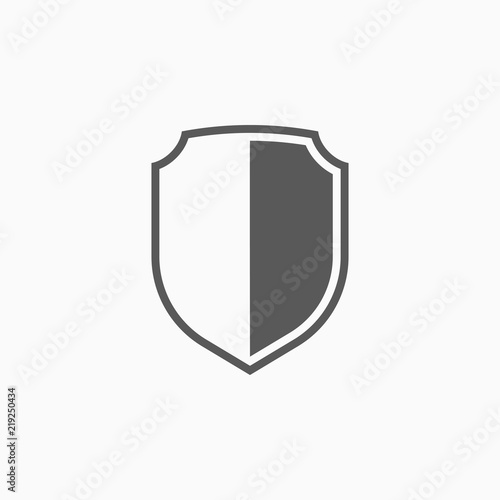 Photo shield icon, aegis vector