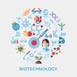 Digital vector biotechnology icons set