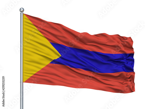 Fotografie, Obraz  San Juan De Pasto City Flag On Flagpole, Country Colombia, Isolated On White Bac