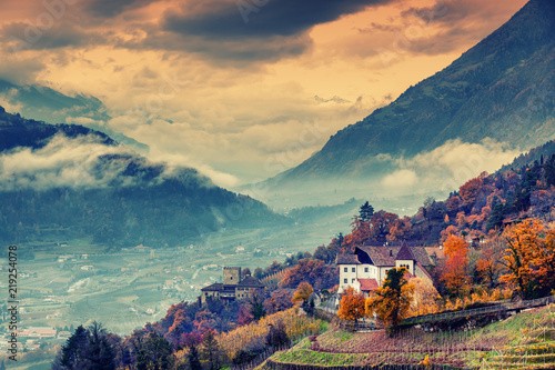 Beautiful mountain and city landscape, South Tyrol, Italy, Dolomites, surroundings Merano