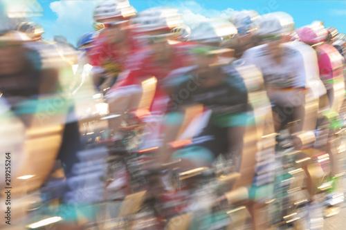Fotobehang Fietsen Group of cyclist during a race, motion blur
