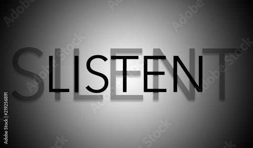 Photo Silent listen text anagram with dark vignette