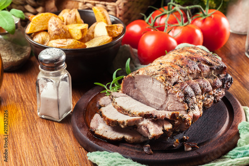 Roasted pork loin with herbs Wallpaper Mural