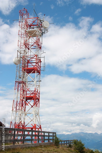 Fotografie, Tablou  Communication repeater antenna tower on the mountain top