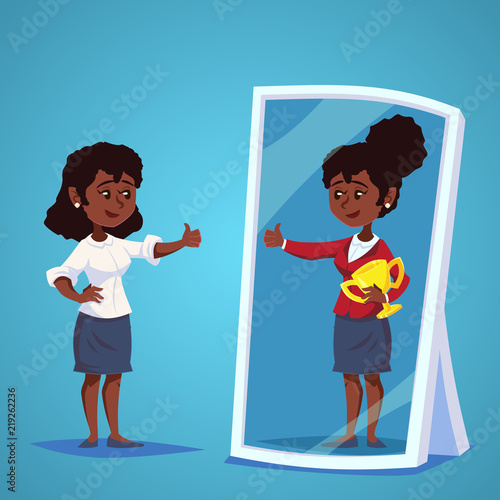 young african, american Businesswomen standing in front of a mirror looking at her reflection and imagine herself successful. Business cartoon vector concept