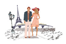 Romantic Couple Travelling The Europe. Hand Drawn Vector Illustration.
