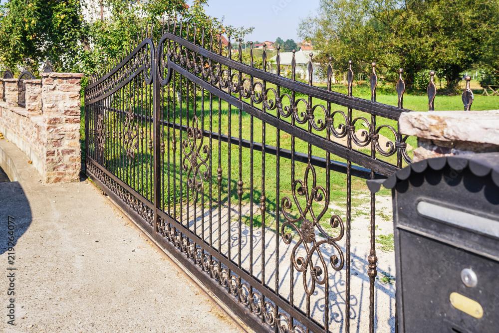 Fototapeta wrought iron fence gate