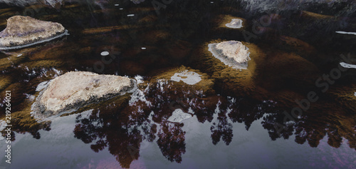 Rocks in the acid waters with reflections of trees