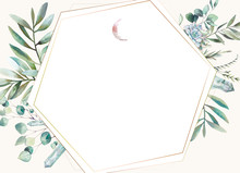 Hexagonal Floral Frame. Hand Drawn Watercolor Card Design With Greenery, Fern Leaves, Succulent, Crystals And Moon. Ready To Use Greeting Or Wedding Template.