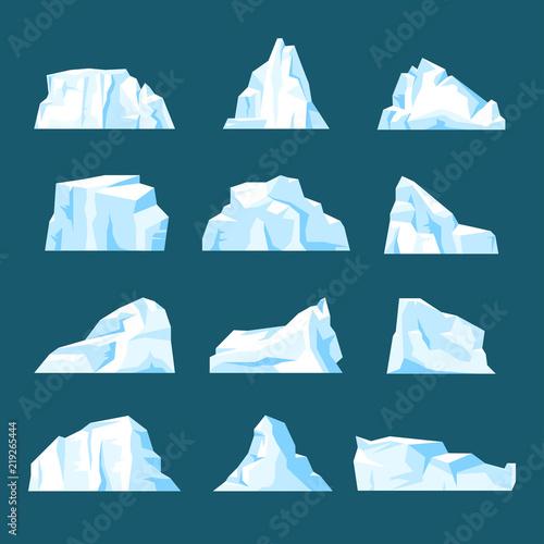 Fotografia Floating cartoon iceberg set isolated from background