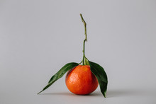 Unpeeled Bright Tangerine With Leaves