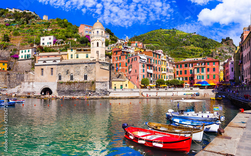 Coastal Italy series- national park Cinque terre and picturesque Vernzazza village in Liguria