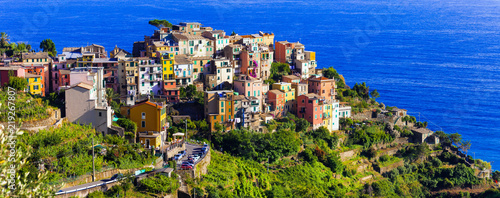 Lanmarks of Italy- national park Cinque terre and picturesque Corniglia village in Liguria