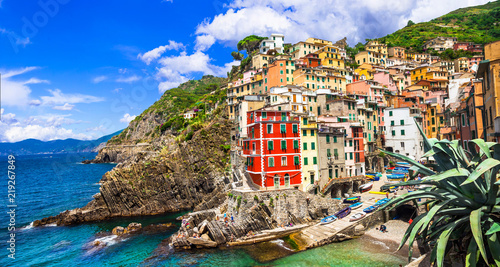 Italy landmarks - national park Cinque terre and scenic Riomaggiore village. Liguria