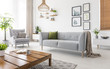 Leinwanddruck Bild - Real photo of grey sofa with green cushion and blanket standing in white living room interior with simple posters, fresh plants, armchair and wooden coffee table with open book and tea mug