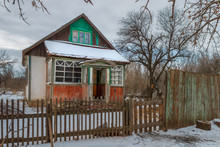 Traditional Russian Homestead In The Abandoned Village. Russia, Rostov-on-Don Region