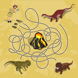 Fototapeta Dinusie - Kids maze. Labyrinth of dino way. Help the researcher find traces of dinosaurs