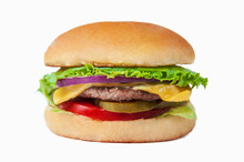 Classic Burger With Cheese Isolated At White Background