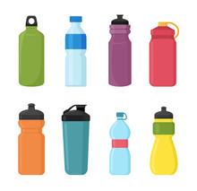 Vector Illustration Set Of Bicycle Plastic Bottle For Water In Different Shaps And Colors. Container Water Bottles For Sport. Natural And Healthy Lifestyle Concept, Water Bottled Container Liquid In
