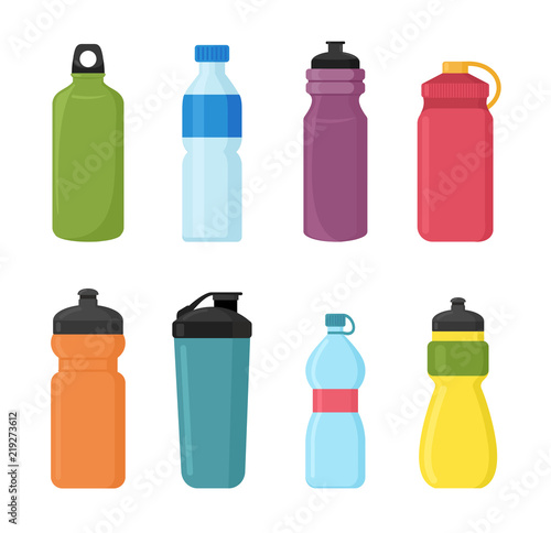 Papel de parede  Vector illustration set of bicycle plastic bottle for water in different shaps and colors