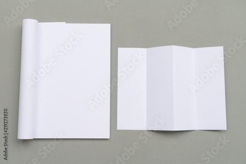 blank catalog brochure magazines book mock up four fold white