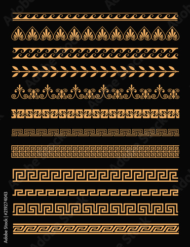 Vector illustration set of antique greek borders and seamless ornaments in golden color on black background in flat style Wallpaper Mural