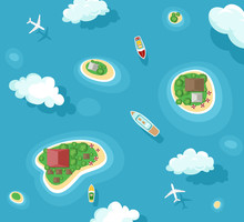 Vector Illustration Of Islands Top View With Boats And Plans. Ocean Summer Vacation. Travel Concept With Yacht, Airplane, Palms And Clouds In Flat Style.