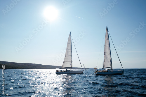 Portrait of sailing boats on open sea - Buy this stock photo
