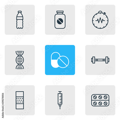 Fotografia  Vector illustration of 9 health icons line style