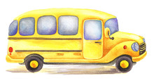 Yellow Watercolor School Bus Driven In Right Direction.