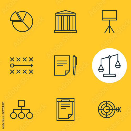 Photo  Vector illustration of 9 business icons line style