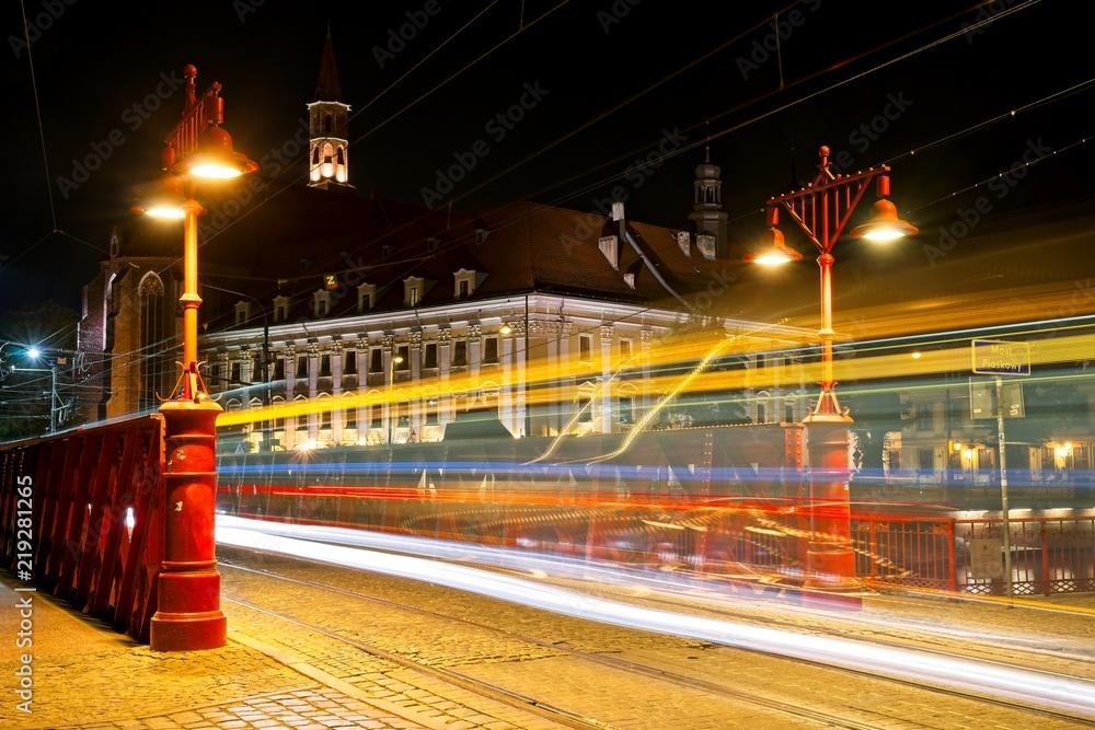Fototapety, obrazy: Wrocław nocą, Most Piaskowy