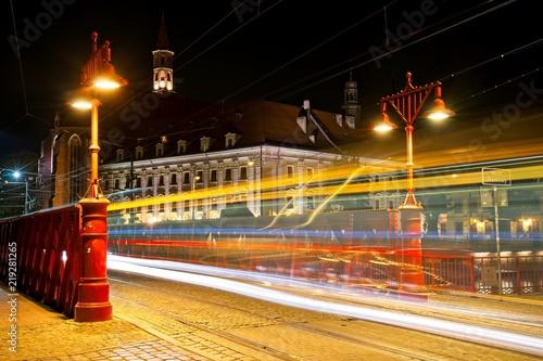 Obraz Wrocław nocą, Most Piaskowy - fototapety do salonu