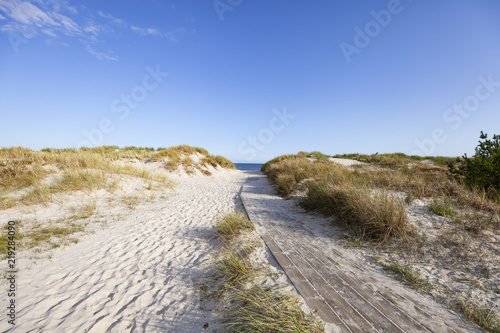 Autocollant pour porte La Mer du Nord Deserted beach in Sandhammaren, Sweden.